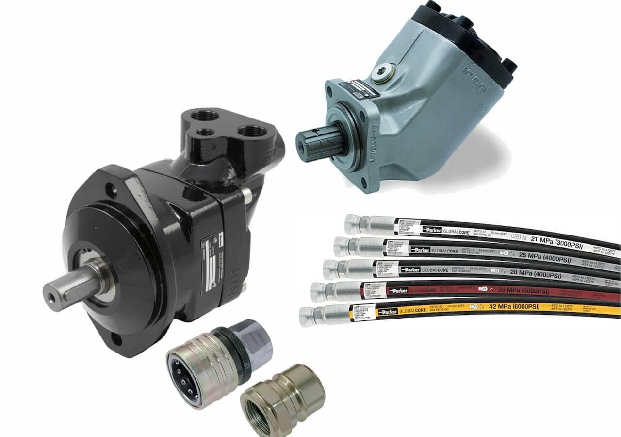 Hydrauliikka: Tema-pikaliittimet, Hansen-pikaliittimet, käsivipuventtiilit, letkuasennelmat, letkut, liittimet, pumput